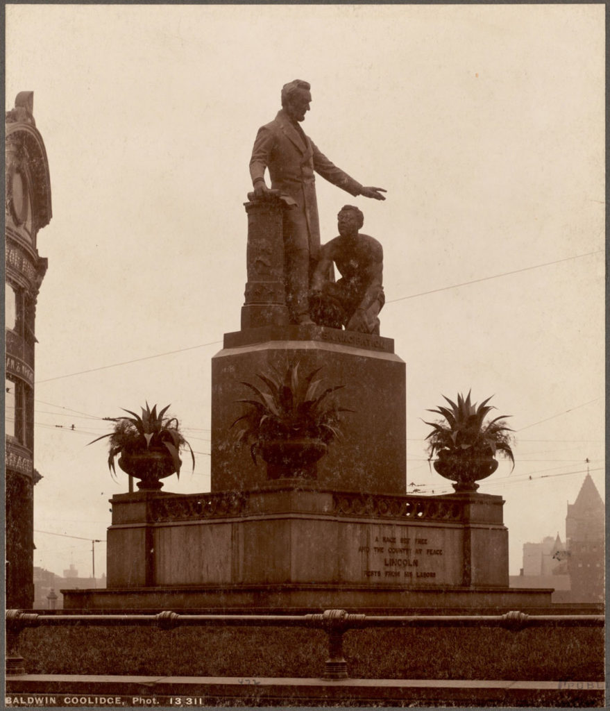 """Freedmen's Memorial Monument"" in Boston's Park Square. (Photo courtesy Boston Public Library)"