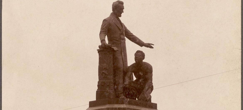 """""""Freedmen's Memorial Monument"""" in Boston's Park Square. (Photo courtesy Boston Public Library)"""