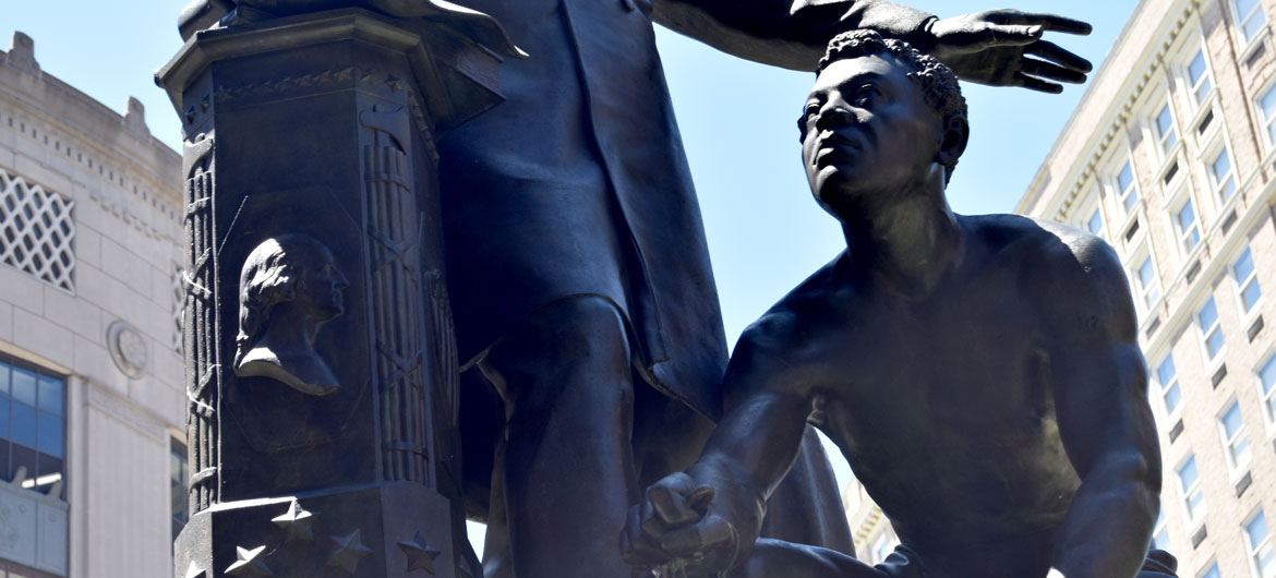 """Freedmen's Memorial Monument"" or ""Emancipation Group"" in Boston's Park Square, June 18, 2020. (© Greg Cook photo)"