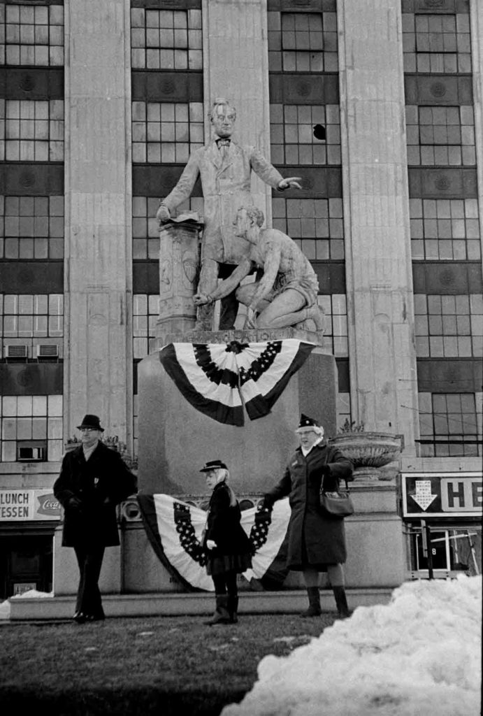 Emancipation Memorial in Park Square, Boston, Feb. 12, 1967. (Collection of Boston Public Library)