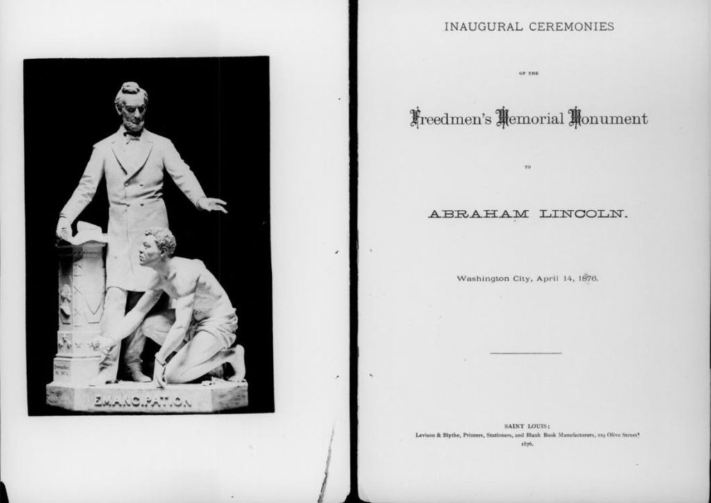 "1876 pamphlet describing the ""Inaugural ceremonies of the Freedmen's Memorial Monument to Abraham Lincoln."""