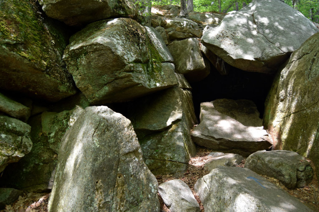 "Cave with inscription ""Prepare To Meet Thy God"" at Purgatory Chasm, Sutton, Massachusetts, May 26, 2020. (Greg Cook photo)"