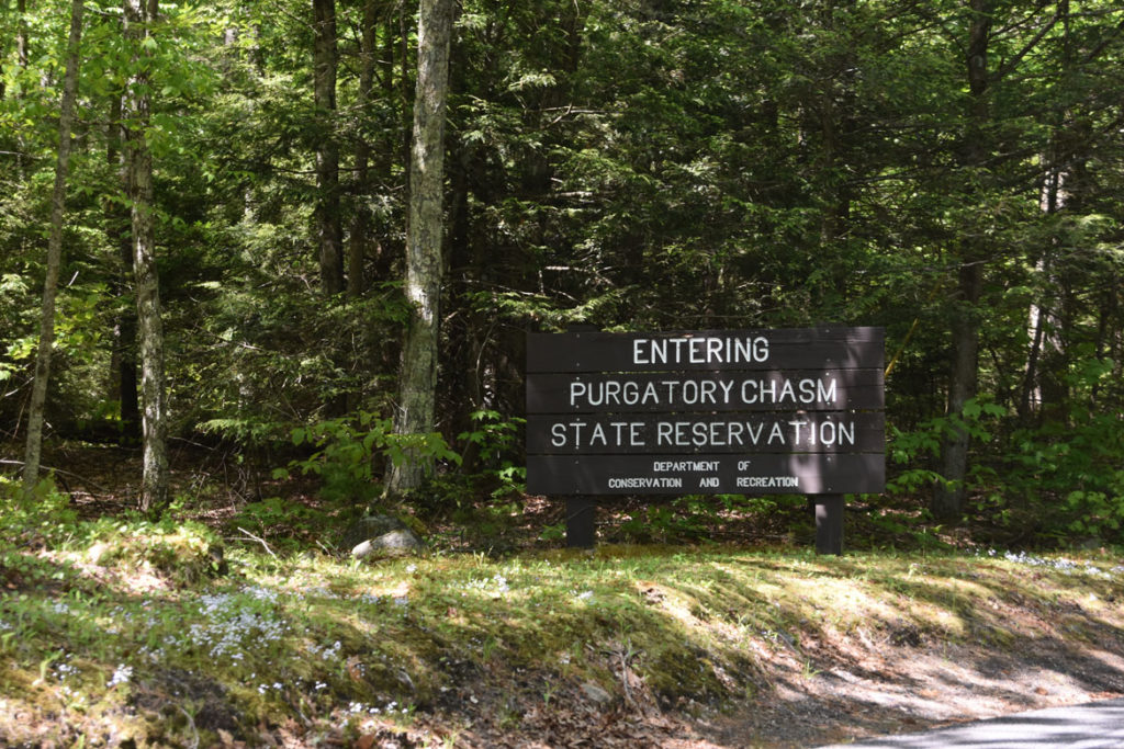 Entering Purgatory Chasm State Reservation sign, Sutton, Massachusetts, May 26, 2020. (Greg Cook photo)