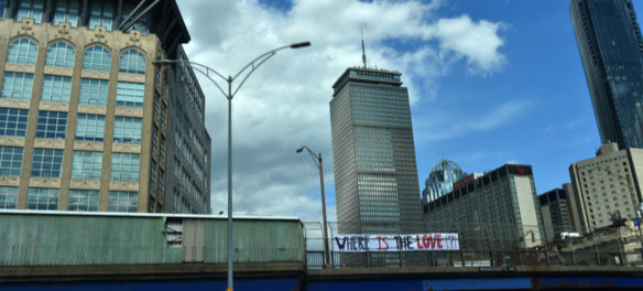 """Where Is The Love?"" banner hung over Route 90 at Massachusetts Avenue in Boston, June 2, 2020. (Greg Cook photo)"