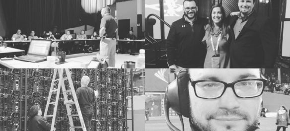 Mark Consiglio, president of the Boston Chapter of the Live Events Coalition, at some of the productions he's worked on. (Courtesy)