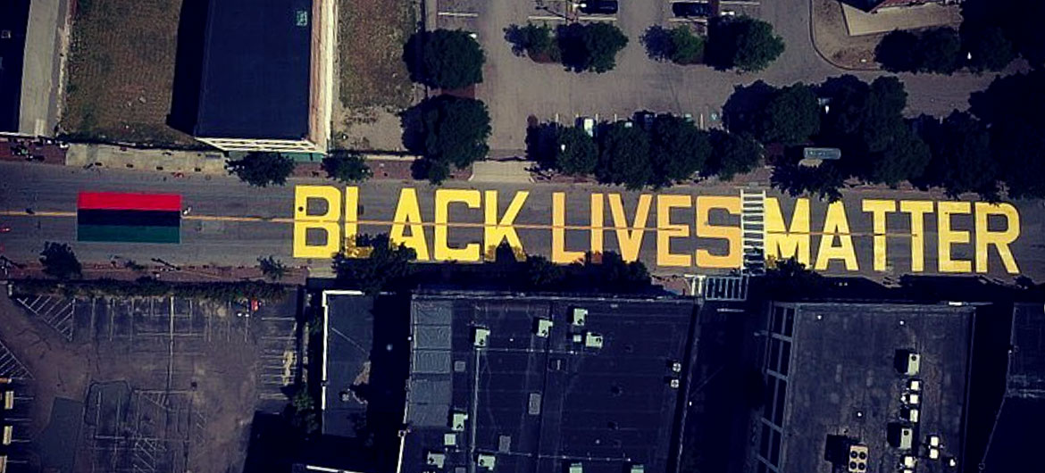 """Black Lives Matter"" street mural on Washington Street in Boston's Nubian Square, July 5, 2020. (Courtesy Black Market Nubian)"
