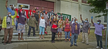 Artists and supporters of the African American Master Artists In Residence Program protest outside the studios building at 76 Atherton St. in Boston's Jamaica Plain neighborhood, June 27, 2020. (Photo © copyright Don West / fOTOGRAfIKS)