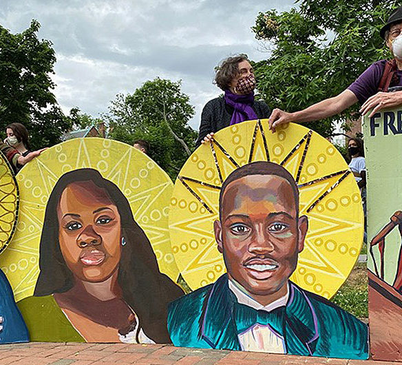 David Fichter (right) with the protest icons at The Movement Continues rally at Cambridge Common, June 7, 2020. (Photo: Marc Levy / Cambridge Day)
