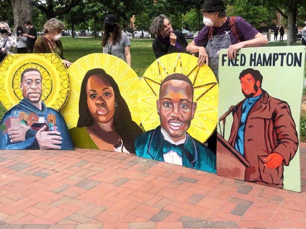 David Fichter (right) with the protest icons at The Movement Continues rally at Cambridge Common, June 7, 2020. (Courtesy David Fichter)