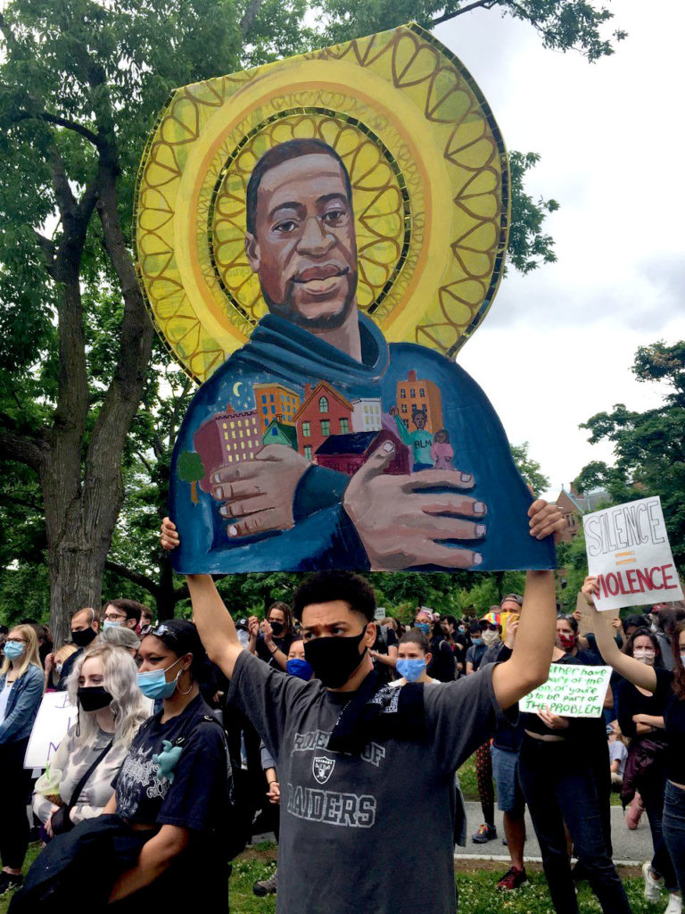 Protest icon of George Floyd at The Movement Continues rally at Cambridge Common, June 7, 2020. (Courtesy David Fichter)