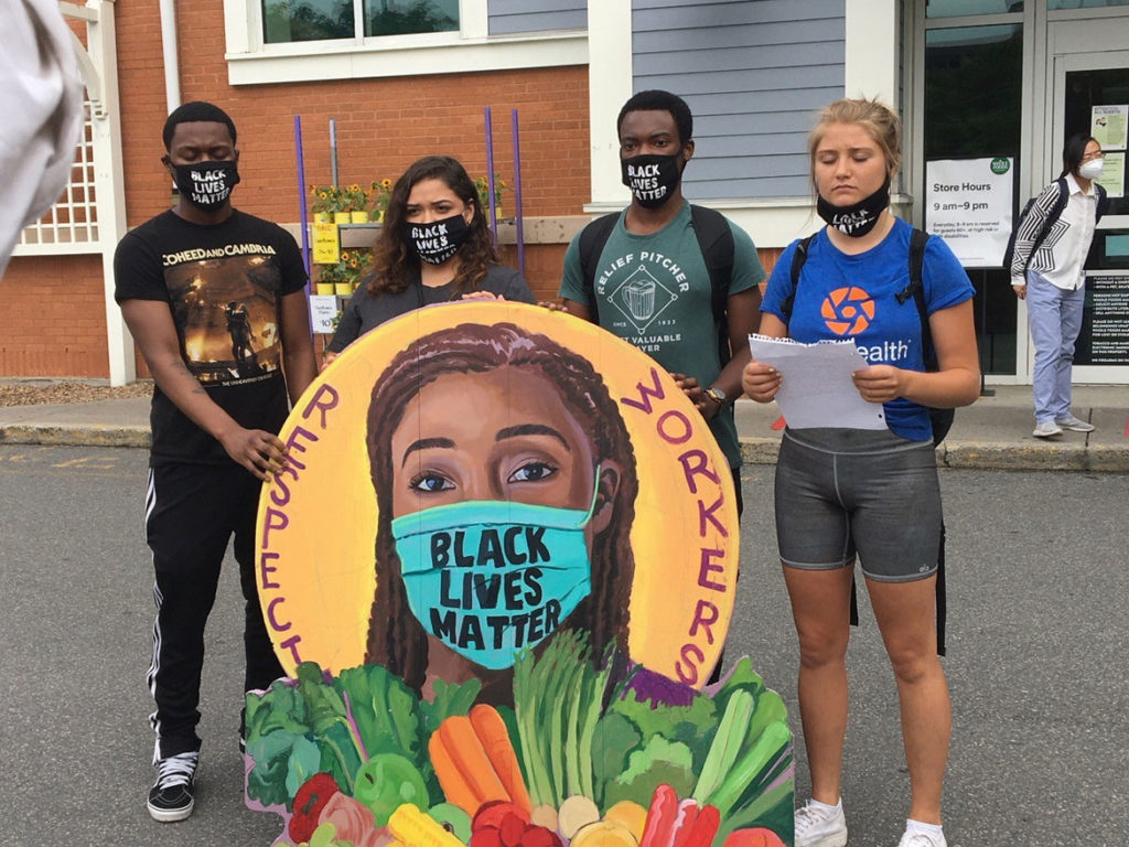 Protest icon at Whole Foods Market in Cambridge, where workers have protested being sent home without pay for wearing Black Lives Matter masks while working at the River Street business. (Courtesy David Fichter)