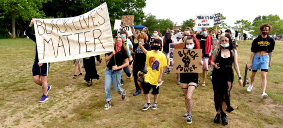 """Independence Day March"" against injustice organized by Demilitarize Gloucester at Gloucester's waterfront, July 4, 2020. (© Greg Cook photo)"
