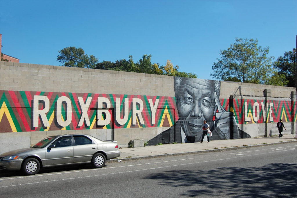 """Roxbury Love"" (Mandela) mural painted in 2014 by Richard ""Deme5"" Gomez and Thomas ""Kwest"" Burns at Warren Street at Clifford Street in Boston, Oct. 7, 2015. (© Greg Cook photo)"