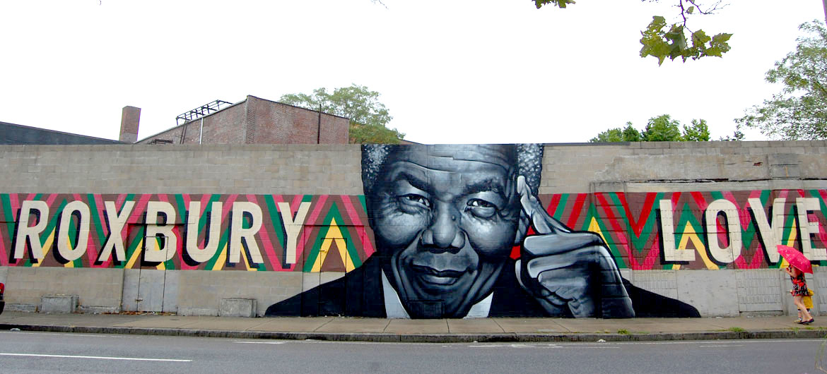 """Roxbury Love"" (Mandela) mural painted in 2014 by Richard ""Deme5"" Gomez and Thomas ""Kwest"" Burns at Warren Street at Clifford Street in Boston, Sept. 1, 2016. (© Greg Cook photo)"
