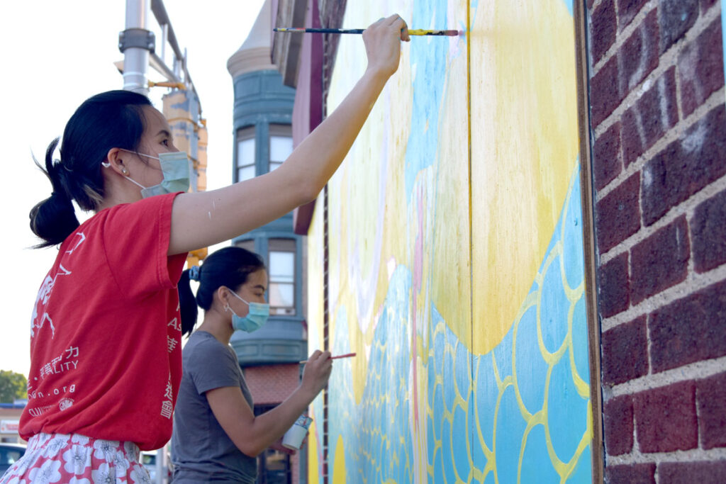 Painting mural at Wah Lum Kung Fu & Thai Chi Academy in Malden, July 25, 2020. (Photo ©Greg Cook)