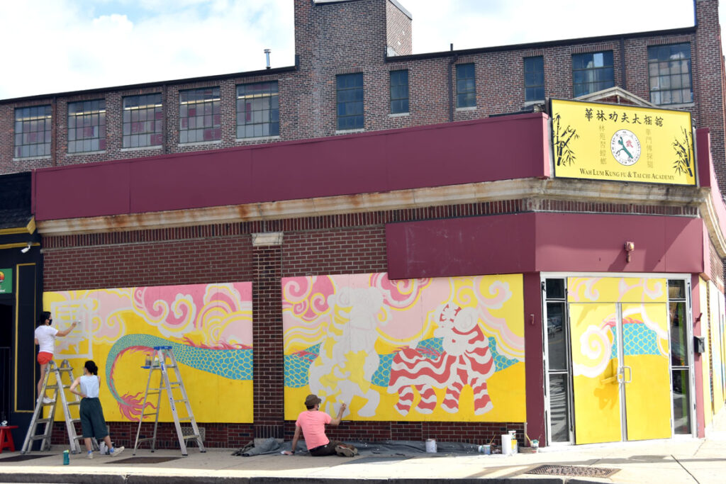 Painting mural at Wah Lum Kung Fu & Thai Chi Academy in Malden, July 29, 2020. (Photo ©Greg Cook)