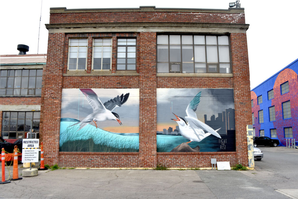 """Josie Morway's mural for """"Sea Walls: Artists for Oceans, Boston 2020,""""from PangeaSeed Foundation in collaboration with HarborArts at the Boston Harbor Shipyard in East Boston, Sept. 18, 2020. (© Greg Cook photo)"""