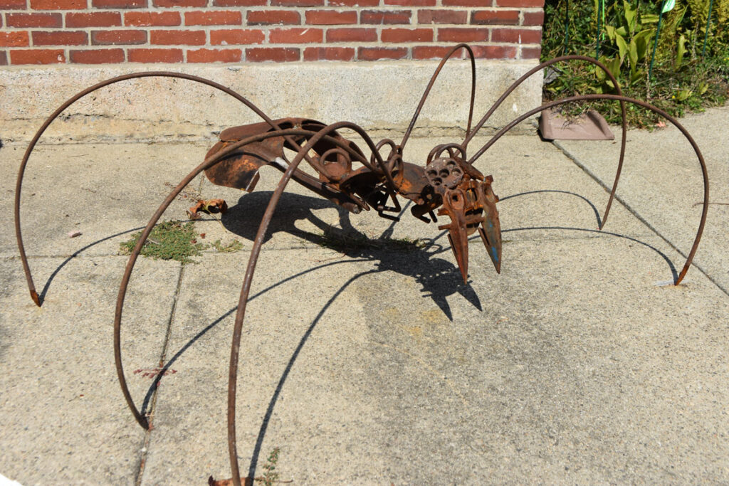 """Kevin Boussom's """"Spider"""" in """"Metal-ity"""" at ArtSpace Maynard, Sept. 25, 2020. (© Greg Cook photo)"""