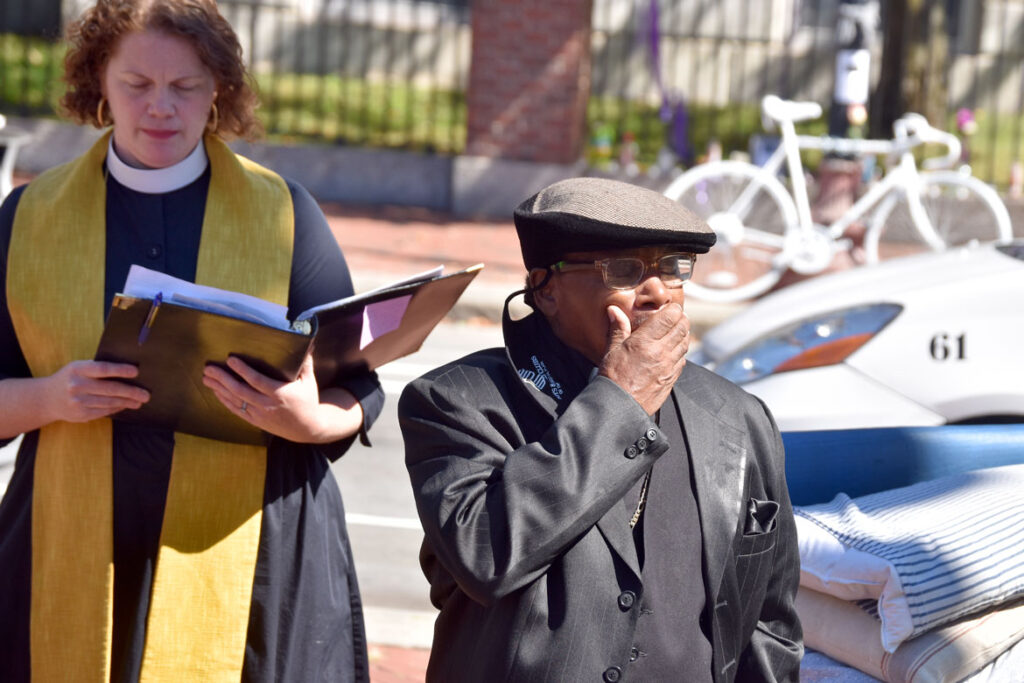 Frank Willis chokes up during the ghost bike dedication in memory of his son Darryl Willis, who was fatally struck by a truck in Cambridge's Harvard Square on Aug. 18. Sept. 19, 2020. (© Greg Cook photo)