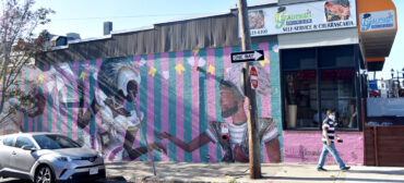 """Doña Patria"" mural by Alexandre Keto at 102 Broadway, Somerville, completed October 2020. (Photo © Greg Cook)"