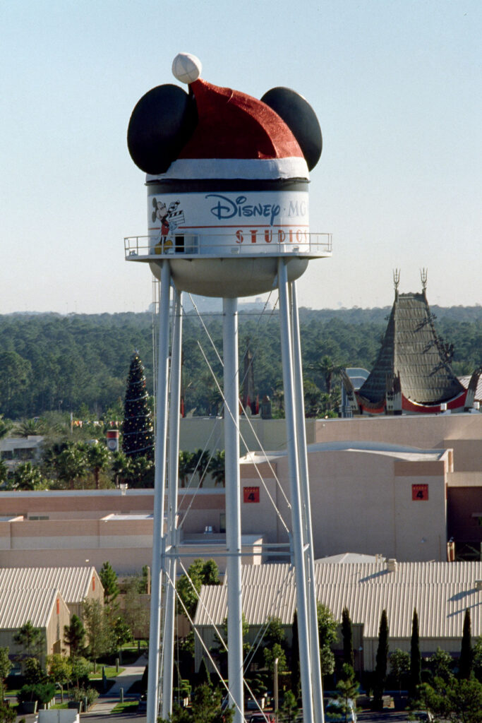 """Earfell Tower"" at Disney's Hollywood Studios, 1989. From ""Holiday Magic at the Disney Parks: Celebrations Around the World from Fall to Winter"" by Graham Allan, Rebecca Cline, and Charlie Price, 2020. (Disney Editions)"