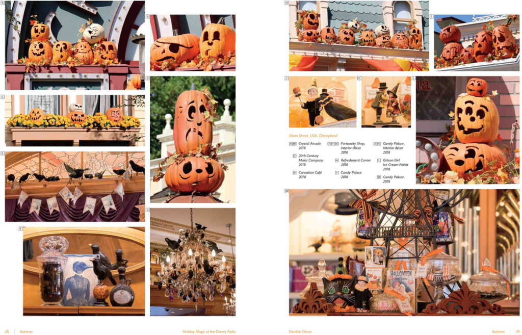 "Halloween decorations along Disneyland's Main Street, USA, 2018. From ""Holiday Magic at the Disney Parks: Celebrations Around the World from Fall to Winter"" by Graham Allan, Rebecca Cline, and Charlie Price, 2020. (Disney Editions)"