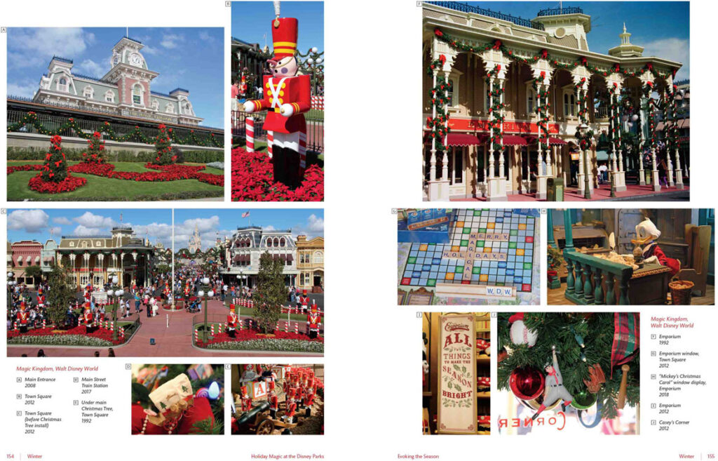 "Christmas at the Magic Kingdom, Walt Disney World, 1992 to 2018. From ""Holiday Magic at the Disney Parks: Celebrations Around the World from Fall to Winter"" by Graham Allan, Rebecca Cline, and Charlie Price, 2020. (Disney Editions)"