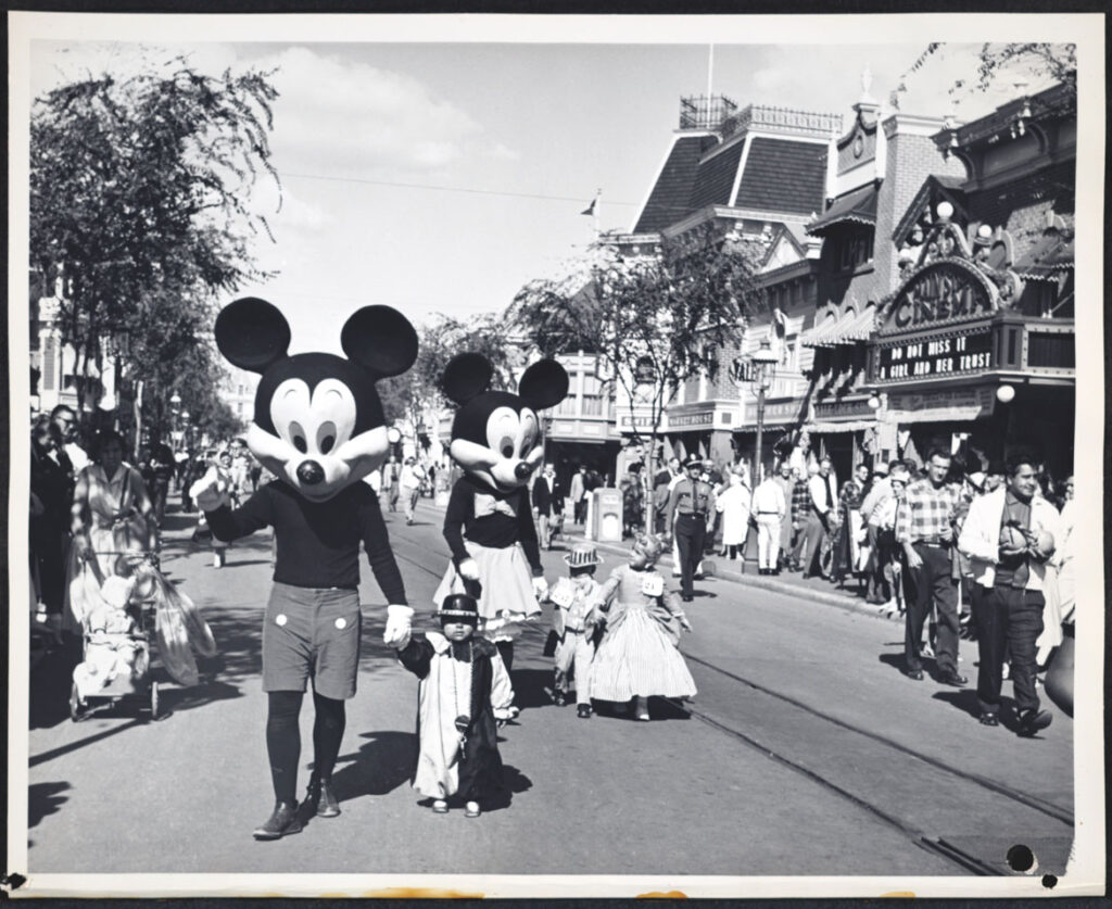 "Parade of Pumpkins at Disneyland, 1959. From ""Holiday Magic at the Disney Parks: Celebrations Around the World from Fall to Winter"" by Graham Allan, Rebecca Cline, and Charlie Price, 2020. (Disney Editions)"
