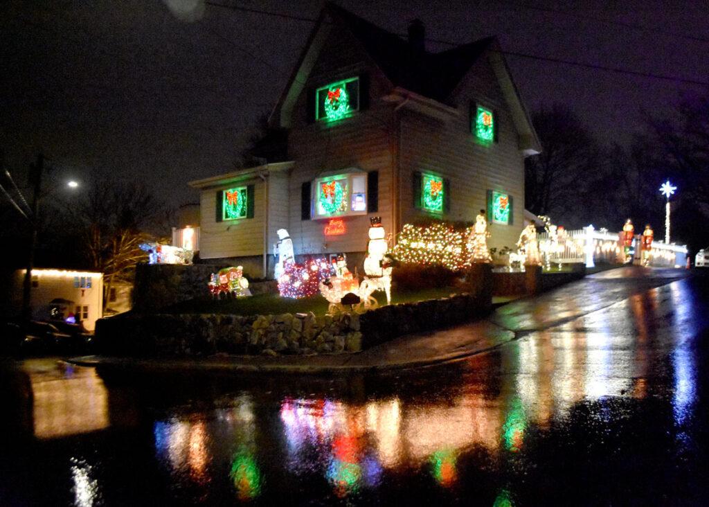 Christmas lights at 20 Dale St., Malden. 2020. (©Greg Cook photo)