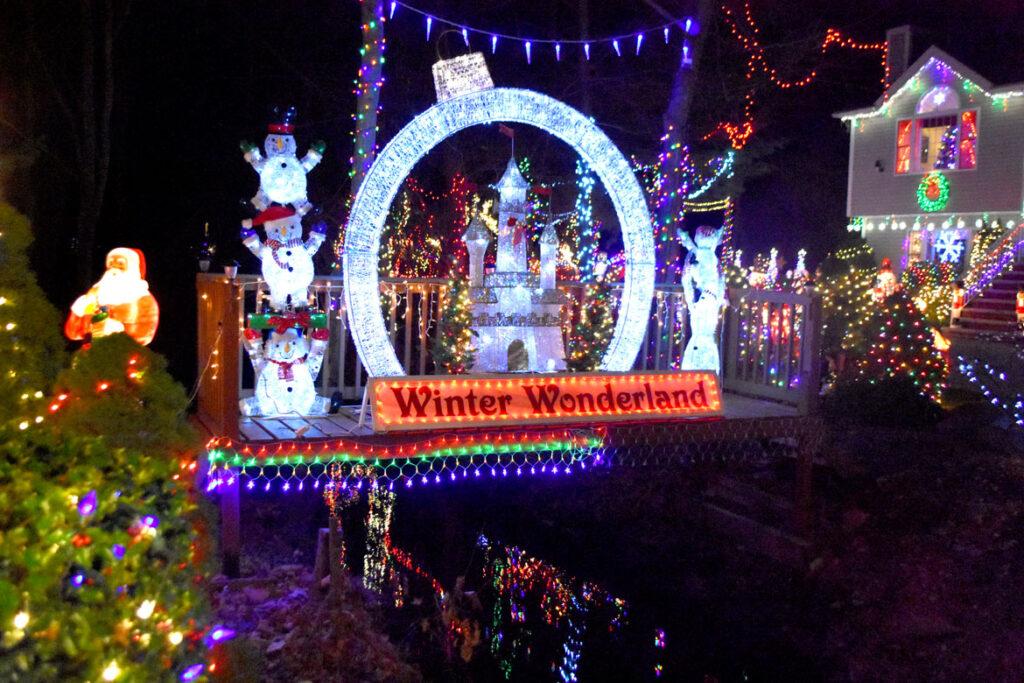 Christmas lights at 16 and 22 Lynn Fells Parkway, Saugus. 2020. (©Greg Cook photo)