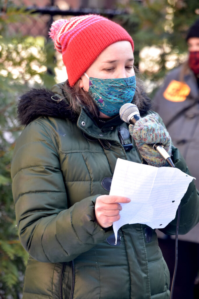 Kari Percival speaks at the Malden Rejects the Coup rally at Malden City Hall, Jan. 10, 2021. (©Greg Cook photo)