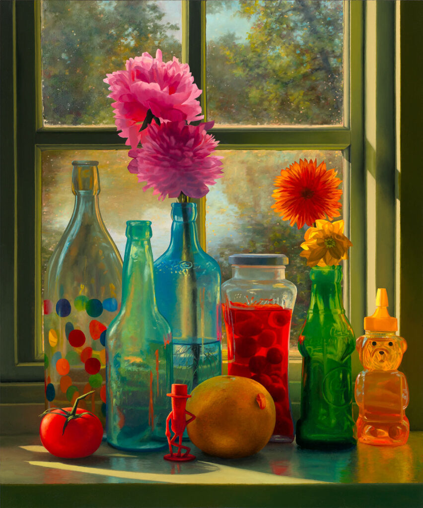 "Scott Prior, ""Autumn Window,"" 2019, oil on board. (Courtesy of Alpha Gallery, Boston)"
