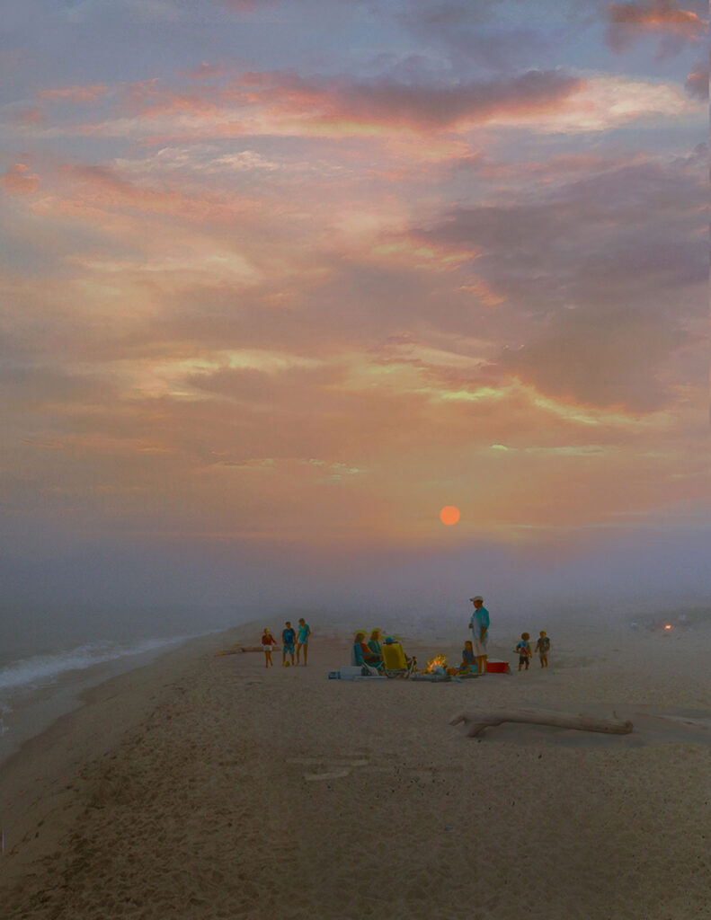 """Scott Prior, """"Bonfire on the Beach, Foggy Sunset,"""" 2021, oil on panel. (Courtesy of Quidley and Company, Nantuckett)"""