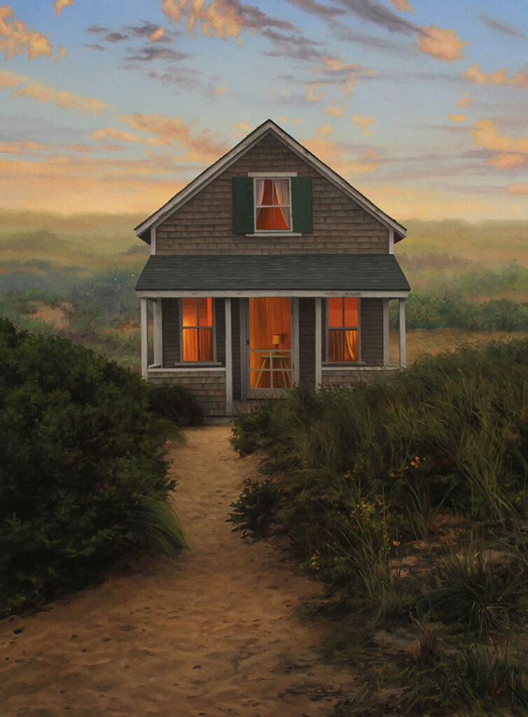 """Scott Prior, """"Cabin in the Dunes,"""" 2015, oil on canvas. (Courtesy of Cahoon Museum)"""