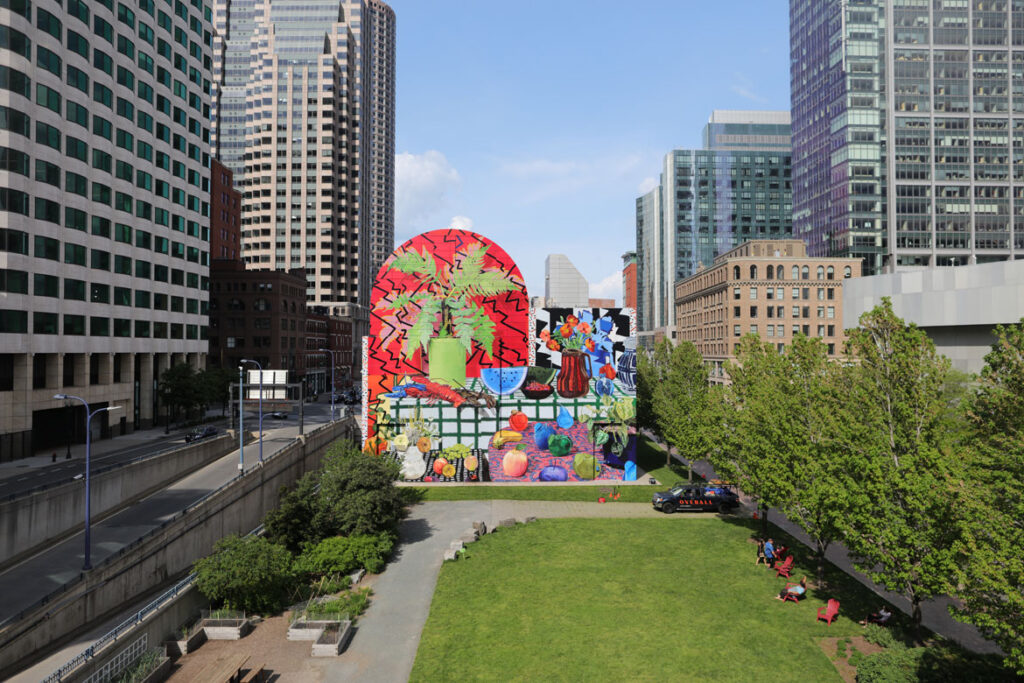 """""""Summer Still Life with Lobster and Fern,"""" designed by Daniel Gordon, on the Rose Kennedy Greenway, Dewey Square, Boston, May 19, 2021. (Photo: Hayden Todd)"""