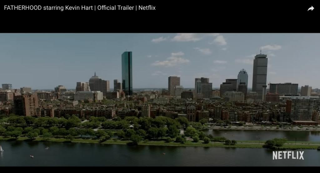 "Boston skyline in ""Fatherhood,"" the 2021 Netflix movie starring Kevin Hart."