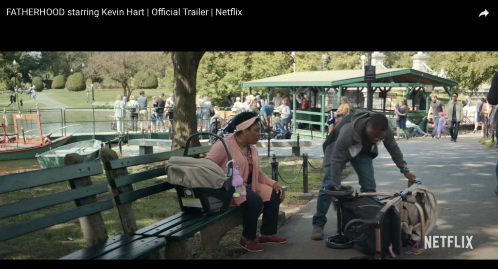 "Near the Swan Boats dock at Boston's Public Garden in ""Fatherhood,"" the 2021 Netflix movie starring Kevin Hart."