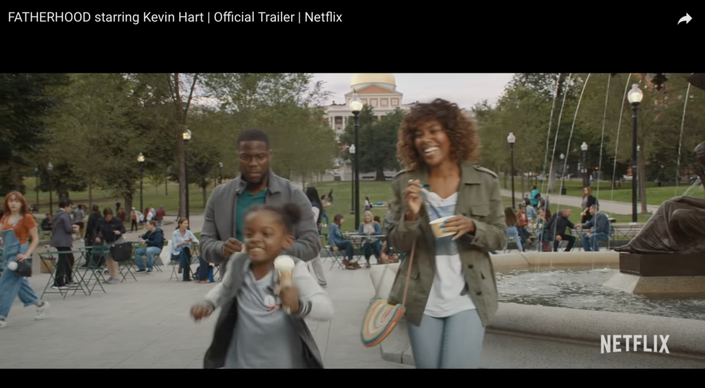 """Brewer Fountain in Boston Common and the State House in """"Fatherhood,"""" the 2021 Netflix movie starring Kevin Hart."""