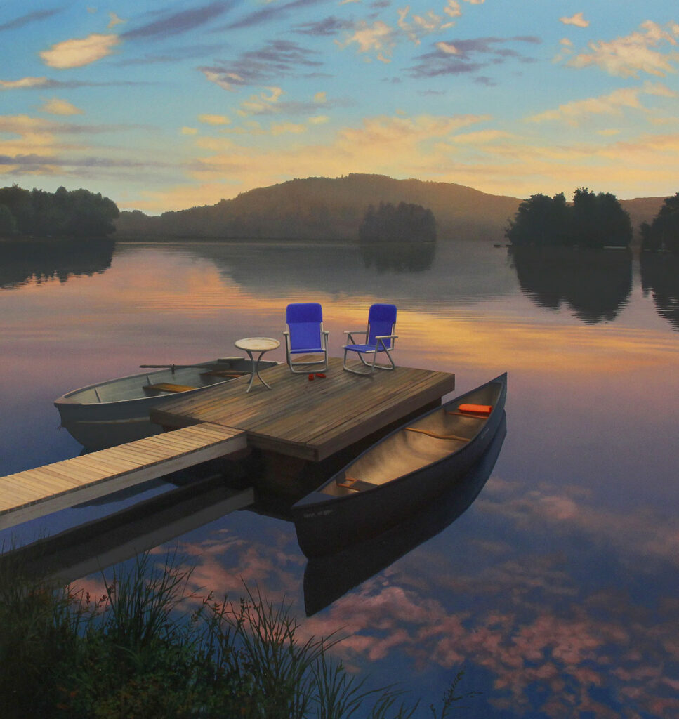 """Scott Prior, """"Sunrise on the Lake,"""" oil on canvas. (Collection of the Cahoon Museum of American Art)"""