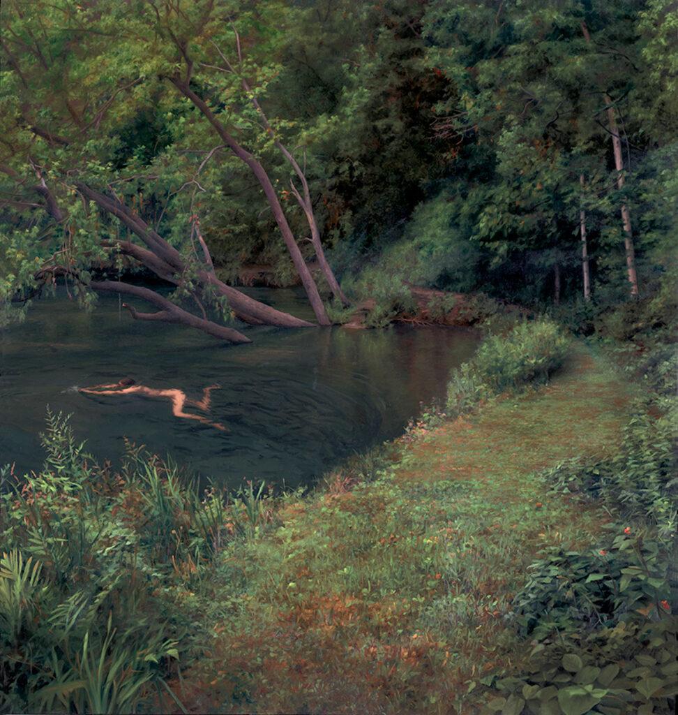 "Scott Prior, ""The Swimmer,"" 2005, oil on panel. (Courtesy of Cahoon Museum)"