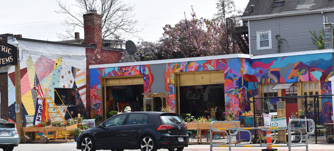 Lucky Jungle, launched by Carly Sanker, on Broadway in Cambridge, May 3, 2021. (©Greg Cook photo)
