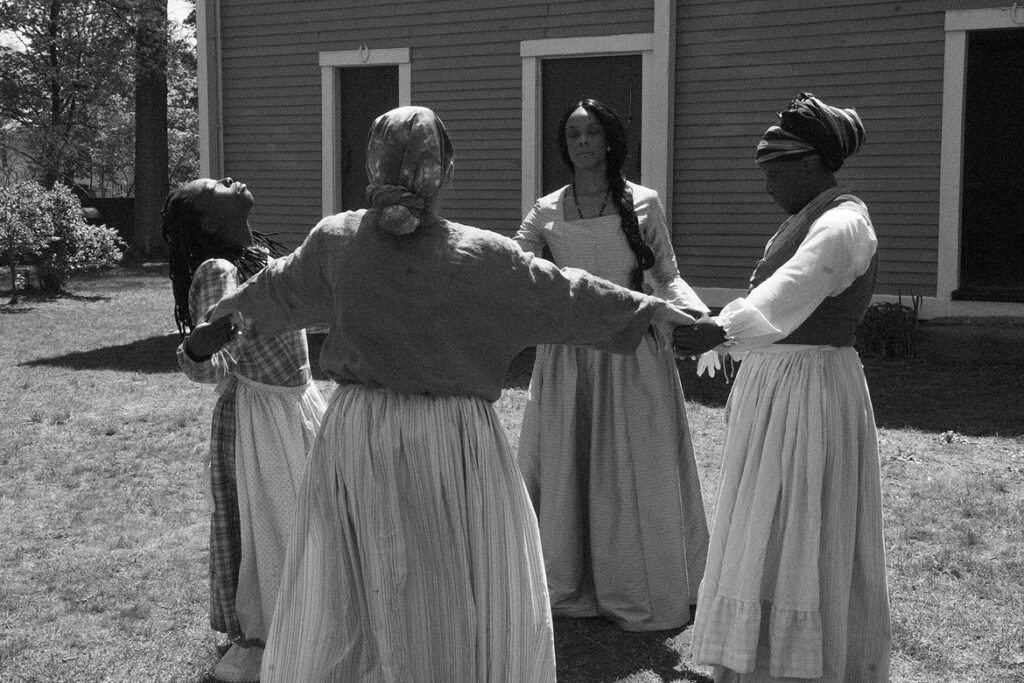 """In Ifé Franklin's 2021 film """"The Slave Narrative of Willie Mae,"""" Spirit circle scene, featuring Qualina Lewis as Willie Mae,Tammy Denease as Virginia, Diyenne Walters as old aunt Sara, and Candis Hilton as Miss Ann.. (Wayne Lake photo)"""