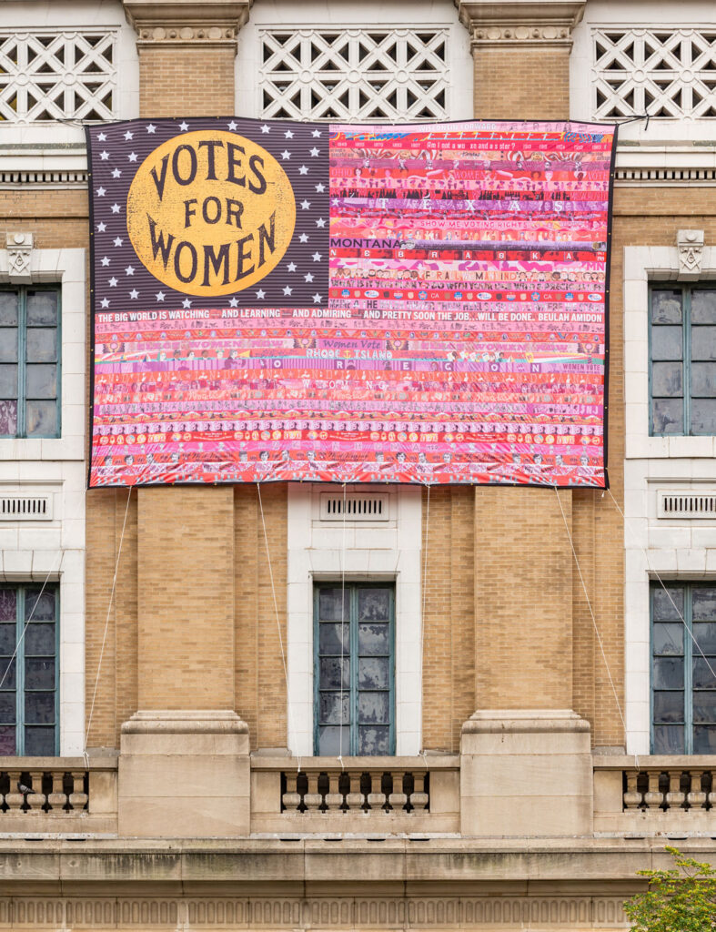 """""""Her Flag"""" created by Oklahoma artist Marilyn Artus and collaborators on view at the National Museum of Women in the Arts, Washington, D.C., June 2021. (Courtesy National Museum of Women in the Art / Kevin Allen photo)"""