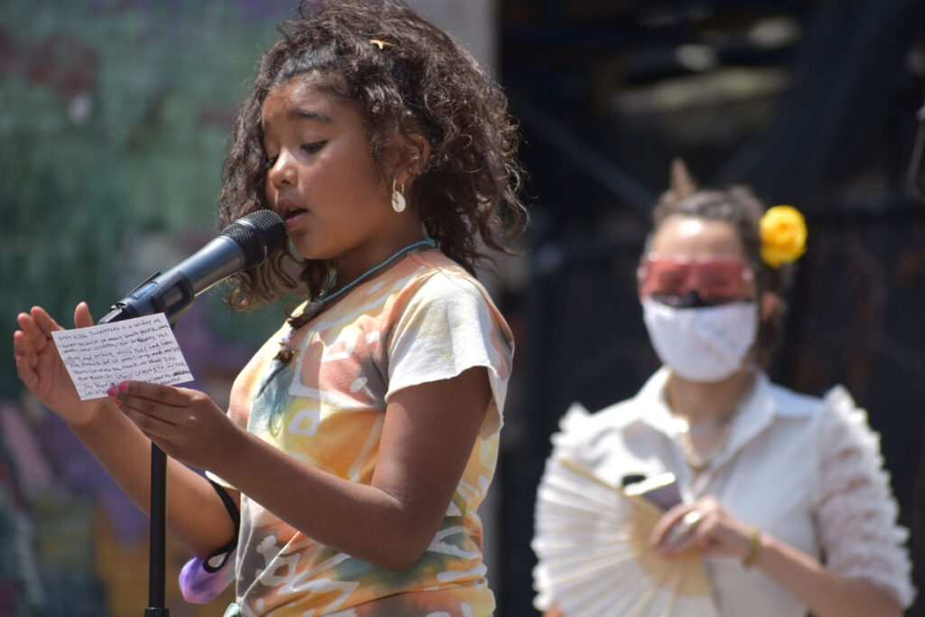 """Ife Franklin's Juneteenth Celebration at Black Market Nubian Square as part of the premiere of her film """"The Slave Narrative of Willie Mae,"""" June 19, 2021. (©Greg Cook photo)"""
