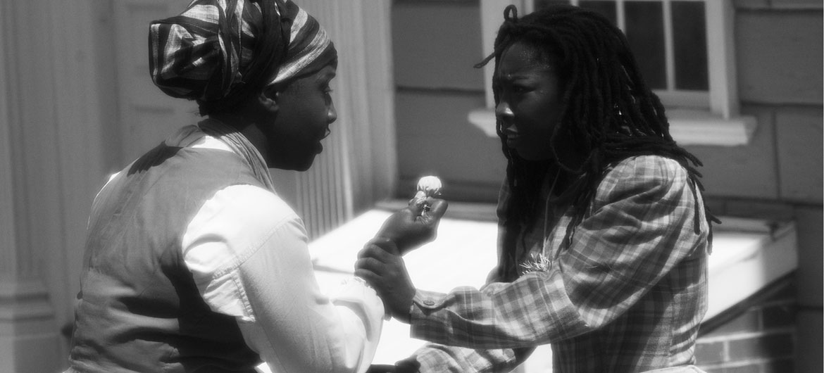 """In Ifé Franklin's 2021 film """"The Slave Narrative of Willie Mae,"""" Death Powder scene with Willie Mae (right, played by Qualina Lewis) and her mother Virginia (Tammy Denease). (Wayne Lake photo)"""