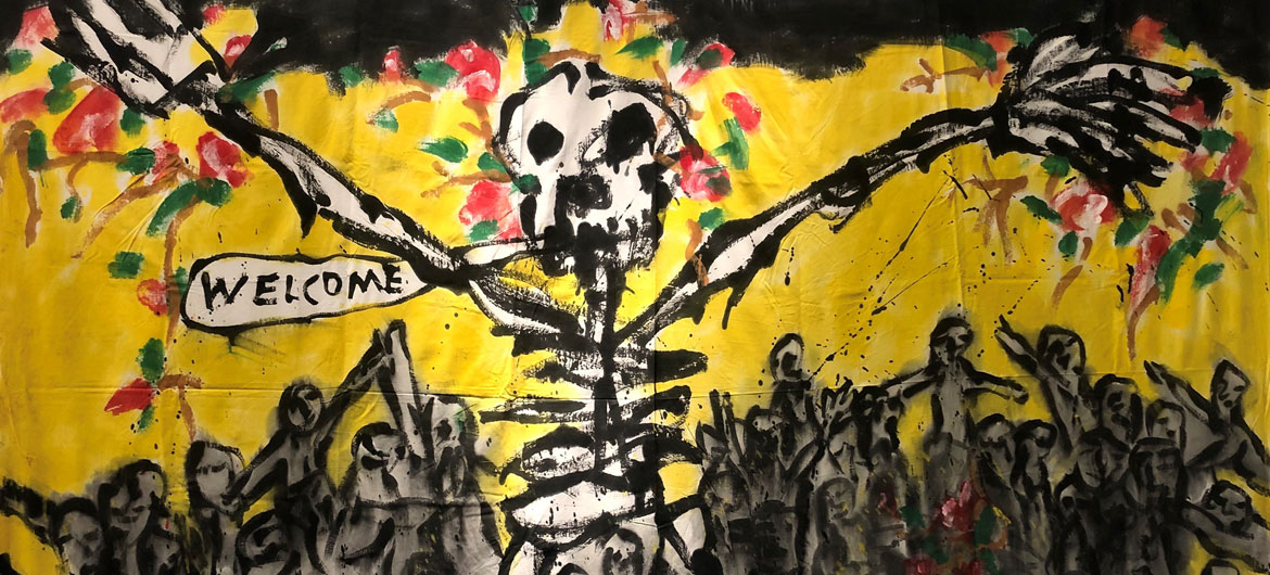 'Bedsheet Mitigations' painting by Bread And Puppet Theater's Peter Schumann. (Photo by Milan Kohout)