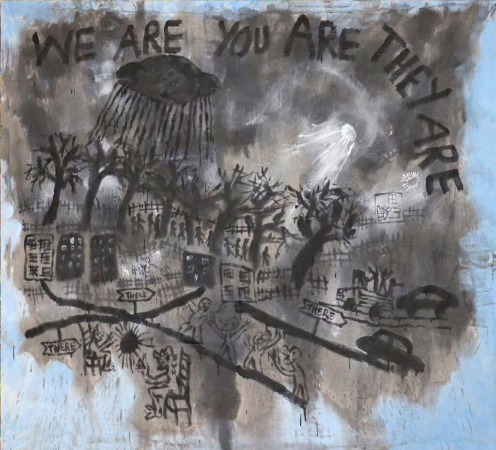 'Bedsheet Mitigations' painting by Bread And Puppet Theater's Peter Schumann.