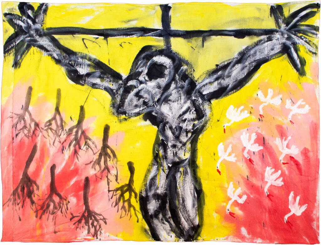"""""""Crucifixion"""" painting by Bread And Puppet Theater's Peter Schumann."""