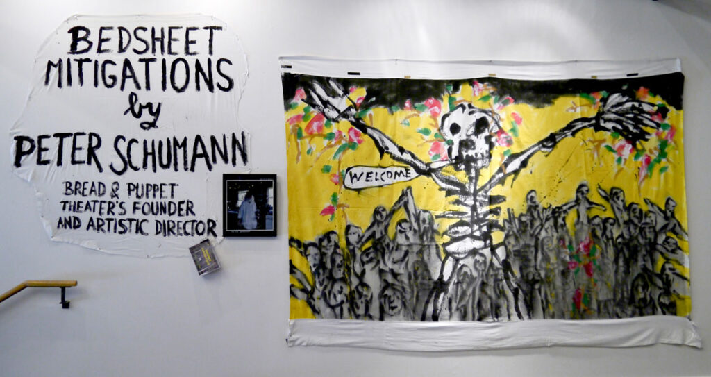 'Bedsheet Mitigations' exhibition by Bread And Puppet Theater's Peter Schumann at Midway Gallery, Boston, June 2021. (Photo by Milan Kohout)