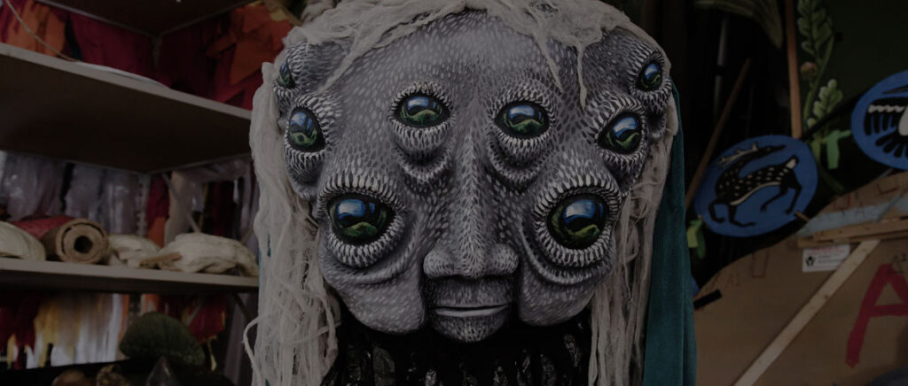 """From """"We Are Here"""" by Marc Levy and Marc Salomon of The Marcs: Mask by Paperhand Puppet Intervention in North Carolina. (Courtesy of The Marcs)"""